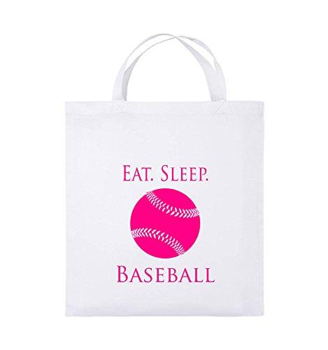Comedy Bags - EAT. SLEEP. BASEBALL - BALL - Jutebeutel - kurze Henkel - 38x42cm - Farbe: Schwarz / Silber Weiss / Pink