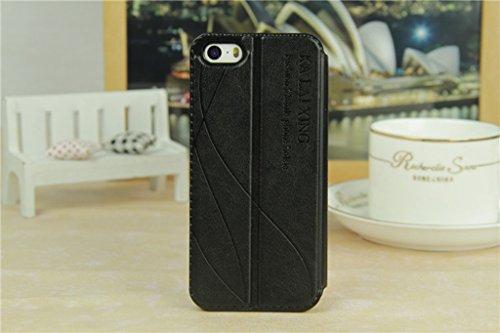 iPhone 5 5S Handycover, TOTOOSE für iPhone 5 5S Ultra dünn PU Leder Hülle mit View Windows Flip Stand Funktion Weiches TPU Silikon Abdeckung Schützend Schale Weiß Schwarz