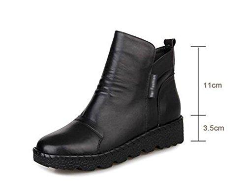 Dongkuan chaussures en cuir bottes plates bottes Martin et des bottes nues croûte épaisse 37