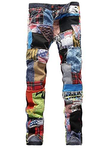 Herren Junioren Straight Leg Bunt Vintage Patchwork Jeanshose Modernas Lässig Mode Hippie Denim Hosen Freizeithose Trousers (Color : Bunt, Size : 34)
