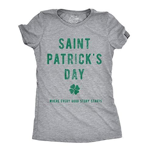 298860cd2602 Crazy Dog Tshirts - Womens Saint Patricks Day Where Every Good Story Starts Tshirt  Funny St