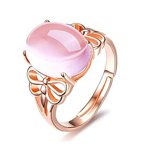 AIUIN Bague Réglable en argent Strass rose pour femme avec Bague Mode élégante Filles Style Nouveau ajustable ouverte,Avec un sac à bijoux (Style 1)