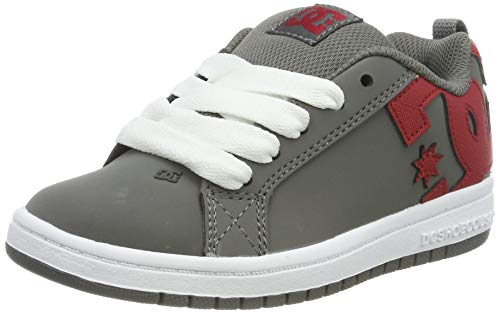 DC Shoes DCSHI Court Graffik-Shoes for Boys, Zapatillas de Skateboard para Niños, Grey/Red, 35 EU