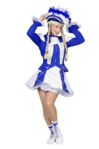 Tanzmariechen Damen Kostüm Garde Karneval Fasching blau-weiß Gr.42