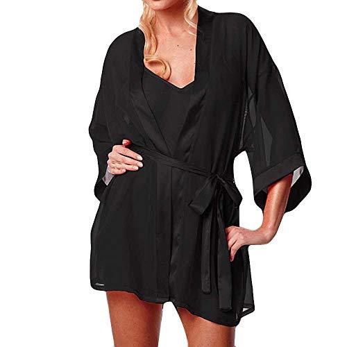 ABsoar Negligees Damen Mode Dessous Bikini 3PC Set Frauen Mode Kimono Morgenmantel Babydoll Lace Bademantel Set Dessous Bikini-Oberteil mit Bikinihose Lingeries Set Mode Kimono