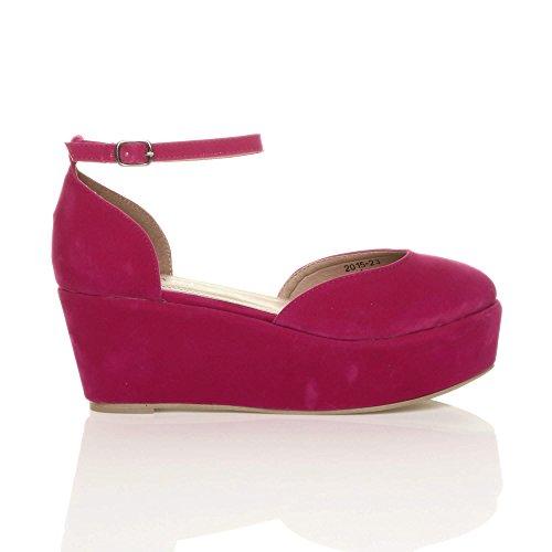 Donna tacco zeppa medio flatform piattaforma décolleté sandali scarpe taglia Scamosciata fucsia rosa