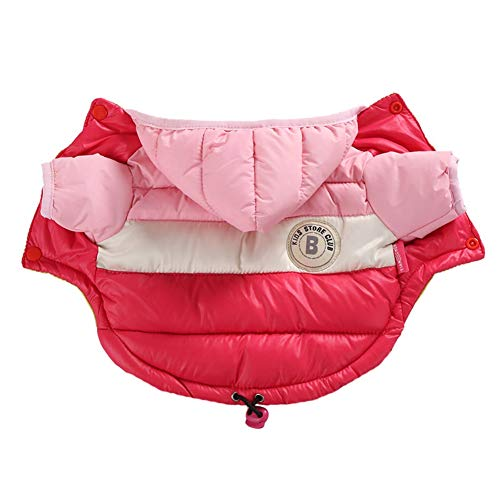 Waterproof Dog Coat Winter Warm Thickening Jacket Hoodie,Windproof Snowsuit 2-Legged Dog Clothes Outfit Vest Pets Apparel for Small Medium Large Dogs with Harness, 6 Sizes,7 Colors -