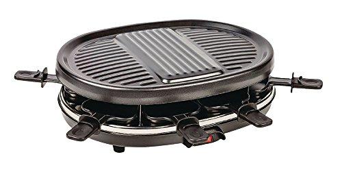 Vetrineinrete® piastra elettrica per raclette per 8 persone griglia con padelle per uova frittelle verdure carne e pesce 900 watt e8
