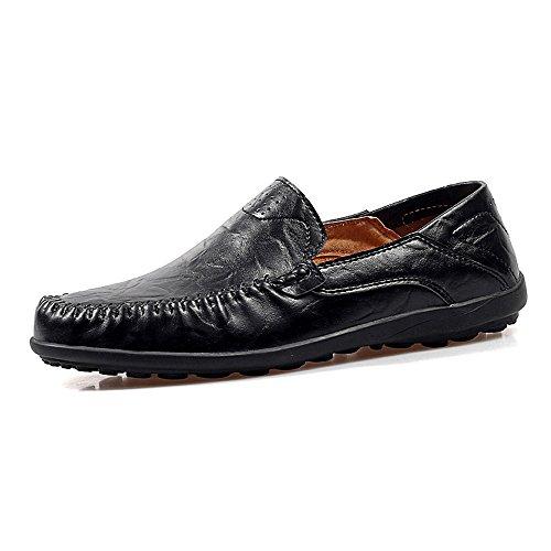 Casual Suede Shoe Männer Flache Ferse Mode Loafer Slip On Slouch Vamp Business Freizeit Freizeitschuhe Herren Sneaker (Color : Schwarz, Größe : 46 EU) -