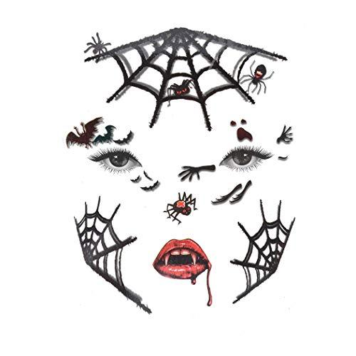 Zoylink Halloween Gesichts Aufkleber Abwaschbares Tattoo Wasserdichte Spinnen Wunde Fake Tattoo