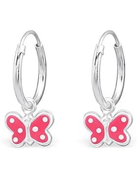 JAYARE Kinder-Creolen Schmetterling 925 Sterling Silber Emaille 18 x 8 mm rosa pink Ohrringe