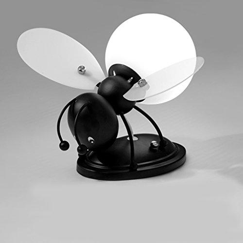KUN PENG SHOP Chambre créative pour enfants, dessin animée, fille, lampe de chevet, carte décorative, abeille, LED, applique murale A+ (Couleur : Noir-Lumière chaude)