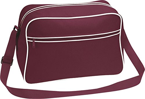 Neue Bagbas'Umhängetasche, Retro-Stil, verstellbar, mit Kontrast-Messenger Tasche - Burgundy/Sand