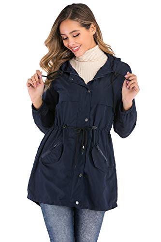 Enjoyoself Abrigos Impermeables para Mujer Rompevientos con Capucha Cortaviento Outdoor Impermeables