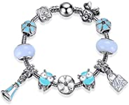 MIADEAL Mickey & Minnie Mouse Charms Bracelet, Blue Owl Beads Girls Womens DIY Jew