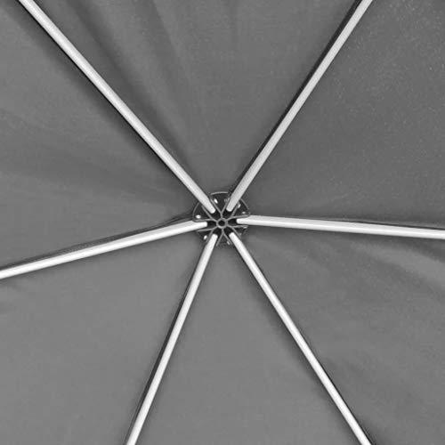 Xingshuoonline - tenda da giardino esagonale pop-up, con 6 pareti laterali, grigio, 3,6 x 3,1 m