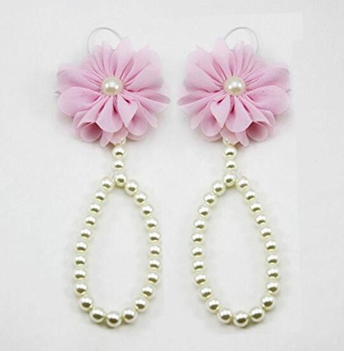 Lucky staryuan ® 4 Paare Baby Mädchen Perle Chiffon Fuß Blume Schuhe schön