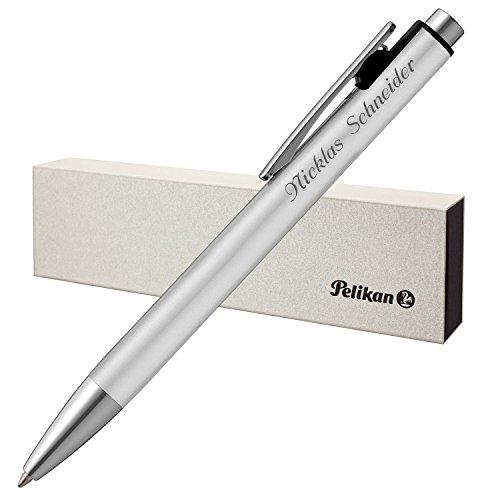 Pelikan Kugelschreiber SNAP silber matt mit Laser-Gravur Aluminium mit Druck-Clip-Mechanik -