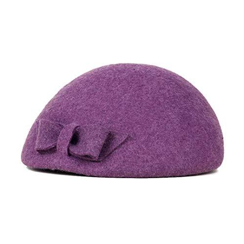 TOBEEY Frauen Wolle französische Bowknot Barett Hut Herbst Winter Vintage warme Mütze Cap