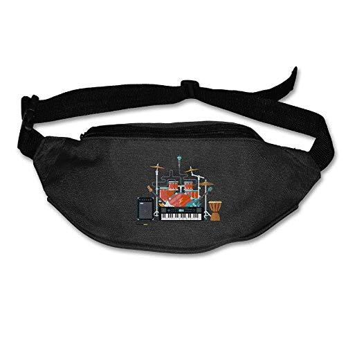Unisex Pockets Musical Instruments Fanny Pack Waist/Bum Bag Adjustable Belt Bags Running Cycling Fishing Sport Waist Bags Black