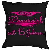Geburtstagsgeschenk für Kinder Kissen mit Füllung Original Powergirl seit 15