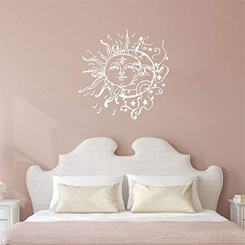 Sun Moon Stars Wall Decals für Schlafzimmer - Sonne und Mond Wall Decal ethnischen Dekor - Sun Moon Crescent Decals Bohemian Boho Fashion (Moon Dekor Crescent)