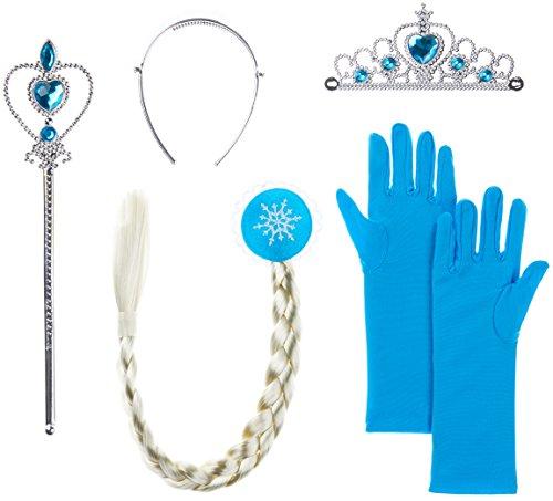 Eisprinzessin / Prinzessin Set aus Diadem + Handschuhe + Zauberstab + Zopf für Kinder ab 2 bis 9 Jahren