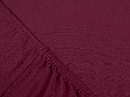npluseins klassisches Jersey Spannbetttuch - erhältlich in 34 modernen Farben und 6 verschiedenen Größen - 100% Baumwolle, 70 x 140 cm, pflaume - 4