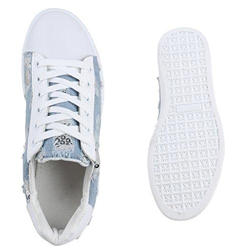 Damen Sneakers Metallic Prints Pailletten Patches Sportschuhe Hellblau