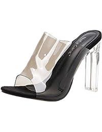 Sandalias Transparentes de tacón Alto para Mujer Tacón Fino Peep Atractivo Sandalias de Tacones Altos Talon