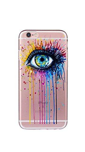 Case Cover Per iphone 6 6S 4.7 pollici Trasparente TPU Gel Silicone Bumper Protettivo Skin Custodia Ultra-sottile Flessibile morbido Protettiva Shell(Ragazza) Occhio