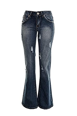 Women's Boot Cut Bell bottom Jeans Ladies Kick Flared Baggy