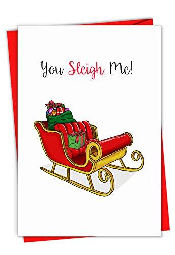Punny Holidays, Sleigh Me Weihnachtskarte mit lustigem Mund auf Schlitten, mit Umschlag. C7122AXSG -