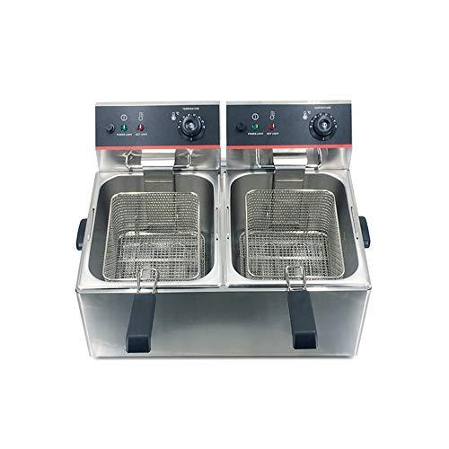 LBSX Edelstahl-Fritteuse for Gewerbe Elektro-Catering Küchenmaschine mit Korb und Temperatur-Kontrolle (12L Tank)