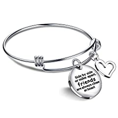 "Idea Regalo - Lauhonmin, bracciale per il migliore amico, con scritta in lingua inglese ""...friends are always close at heart""; regalo ideale per l'amicizia a lunga distanza"