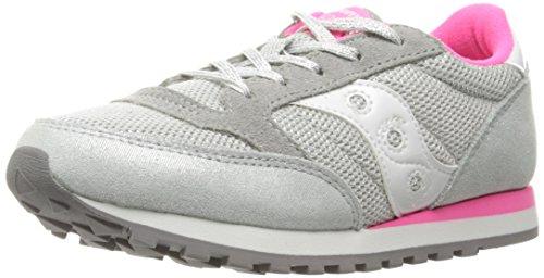 SAUCONY - Chaussure de sport fuchsia à lacets, en suède et synthétique, colorée, confortable et à la mode, fille, filles, femme, enfant Gris
