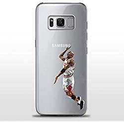 S8Plus+ TPU Funda Gel Transparente Carcasa Case Bumper de Impactos y Anti-Arañazos Espalda Cover, NBA Basketball, Jordan Colección Collection, Galaxy S8 + Plus