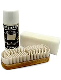 Pacona Kit Nettoyage pour cuir / Kit d´entretien pour cuir, pour cuir lisse et cuir rugueux, en trois parties