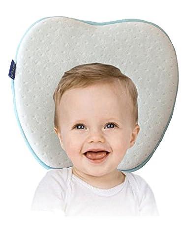 Oreiller bébé pour Plagiocéphalie | Évitez bébé tête plate et conserver une tête bien ronde | Oreiller memoire de forme Hypoallergénique pour votre Bébé nouveau-né | Coussin bébé prévient le syndrome à tête plate et la plagiocéphalie | Coussin de maintien anti tête plate - Cale tete bebe | 100% GARANTIE et LIVRAISON GRATUITE