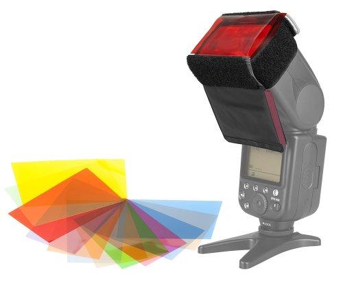12x pellicole colorate (Gels) Set di filtri con supporto a correzione del colore di systemblitzen, correzione pellicole di adeguamento alla luce del giorno (CTB) e luce artificiale (CTO)