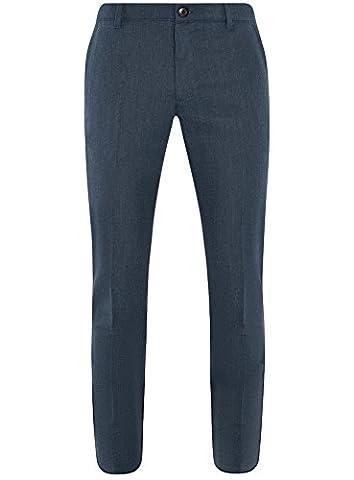 oodji Ultra Herren Baumwoll-Hose Slim Fit, Blau, DE 48 / EU 42 / M