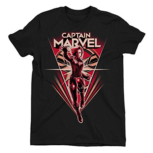 Captain Marvel Flying V Men's Black T-Shirt XX-Large