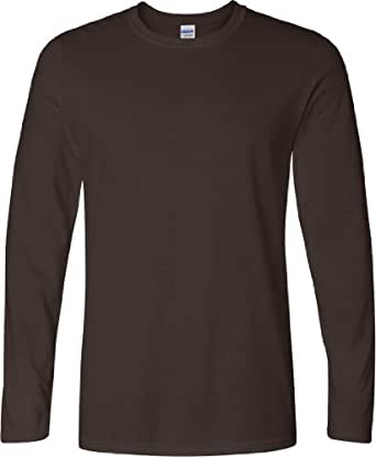 Gildan Mens Plain Crew Neck Ultra Cotton Long Sleeve T-Shirt (S) (Dark Chocolate)