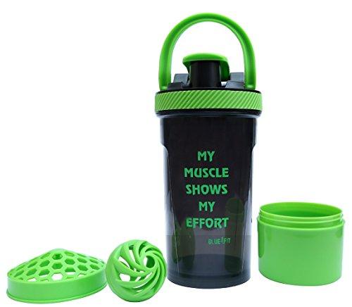 BlueFit Hardy gym shaker bottle 700 ml protein mixer with protein powder storage box (Black /Green)