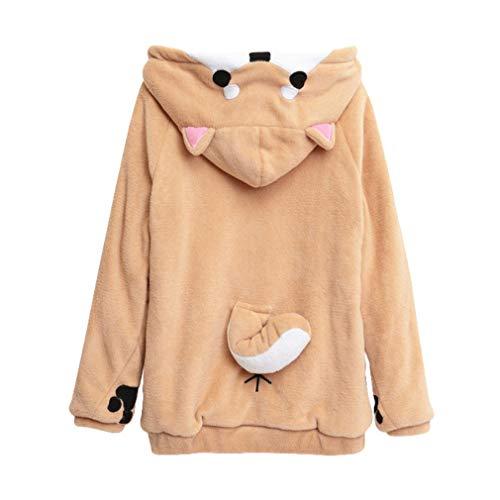 Kostüm Kawaii - junkai Mädchen Nette Kawaii Doge Muco Fleece Hoodie Langarm Kostüm Pullover Sweatshirts Top Bluse Trainingsanzüge Wie Gezeigt 2XL