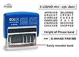 Cosynee S120 Tampon encreur automatique avec 12 mots en caoutchouc et encre rouge Each Word Size : 4 mm Encre noire