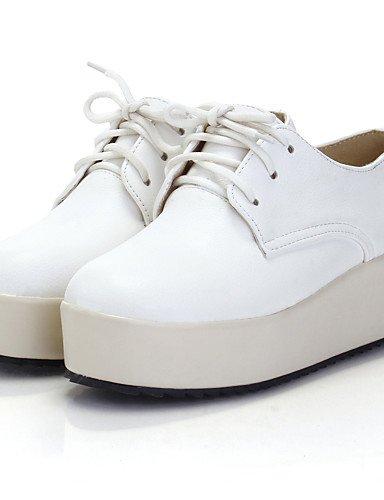 ZQ Scarpe Donna - Stringate - Formale - Plateau / Punta arrotondata - Plateau - Finta pelle - Bianco / Beige , 2in-2 3/4in-white 2in-2 3/4in-white