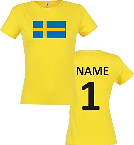 Lady T-Shirt Schweden Sweden Ländershirt mit Wunschnamen und Nummer, Farbe gelb, Größe S