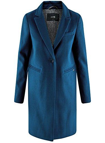 oodji Ultra Damen Klassischer Mantel mit Ein-Knopf-Verschluss Blau (7901N)