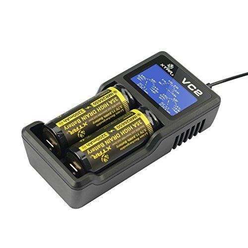 XTAR VC2 Chargeur USB de qualité supérieure avec écran LCD (Mise à Niveau de la série MC) 18350 18500 18650 18700 14500 16340 17500 Chargeur de Batterie Li-ION (sans Piles)